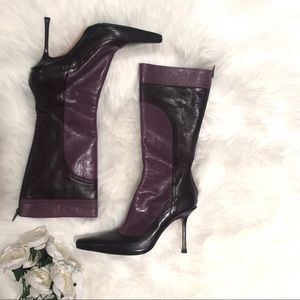 Jimmy Choo   Two Toned Purple Pointy Heeled Boots